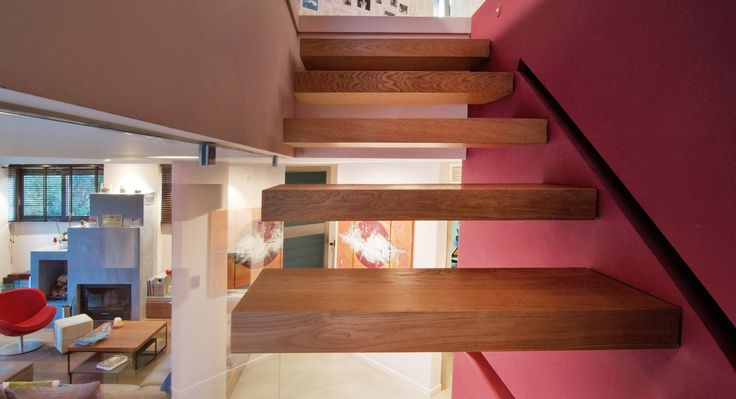 Minimal, wooden Stairs with secret lighting, designed for the residence in Adames by AkPraxis. To see the whole project visit http://www.akpraxis.gr/portfolio/adames-residence/