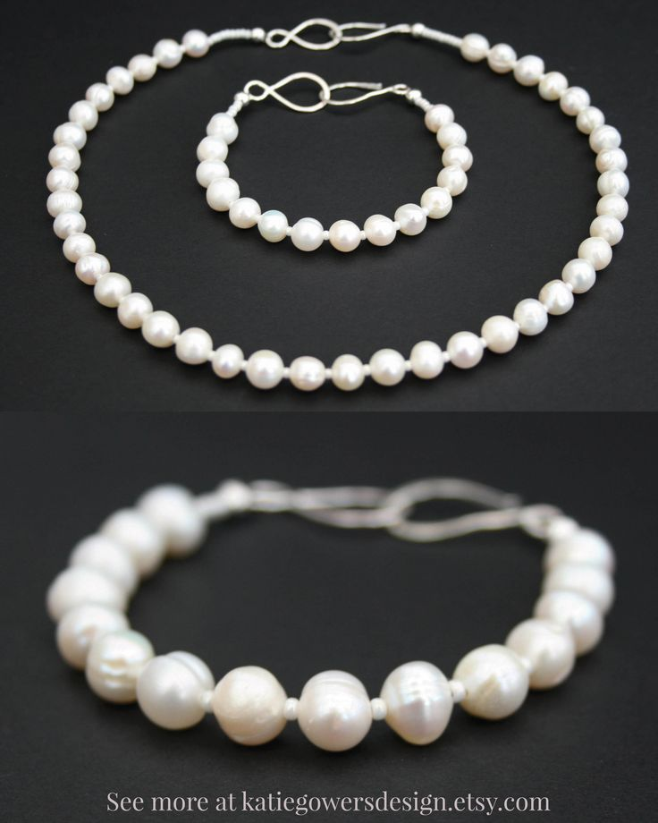 Handmade wedding jewellery with freshwater pearls. Stylish and elegant necklaces and bracelets from £24. katiegowersdesign.etsy.com