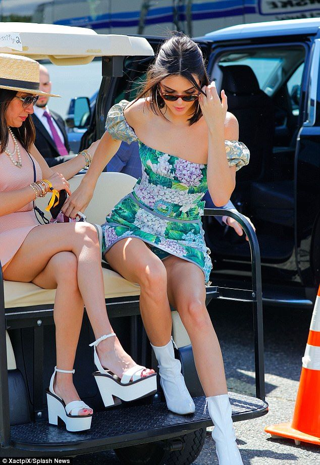 Leggy Kendall Jenner accidentally flashes her UNDERWEAR in leafy green mini-dress at star-studded Veuve Clicquot Polo Classic
