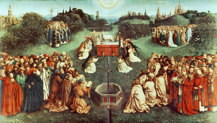 Гентский алтарь, «Поклонение агнцу», 1425-1429