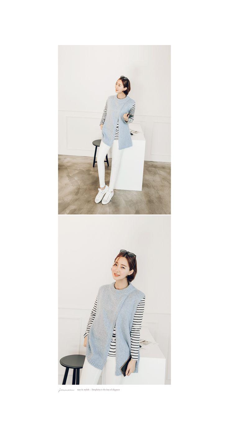 韓国女性服ショッピングモール、さまざまなテーマでご用意しました。 [JOAMOM] 婦人服通販レディースファッション ニット&カーディガン ヴェスト イジュンひらきニットベストJV0443