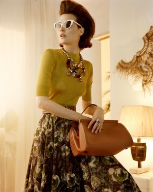 "photograph by Javier Vallhonrat for VOGUE UK  (June 2010) ""Far from Heaven"" , Model:Shalom Harlow #mustard #fifties"