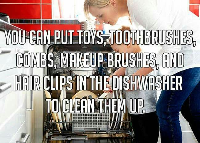 You can put toys, toothbrushes, combs, makeup brushes, and hair clips in the dishwasher to clean them up. Clean living. Organization.