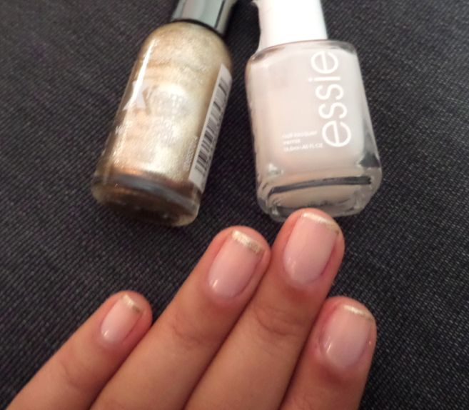 Fall French Manicure - Gold Tips