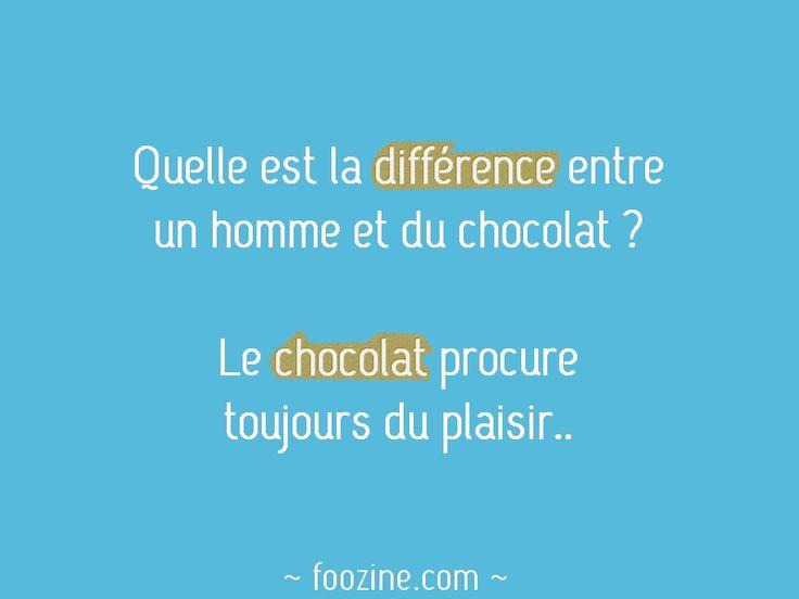 Quelle est la différence entre une homme et du chocolat ? Le chocolat procure toujours du plaisir..