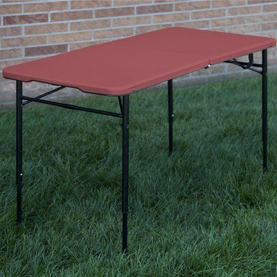 Cosco Home and Office Indoor/Outdoor Adjustable Height Center Fold Tailgate Table with Carrying Handle Color: Red
