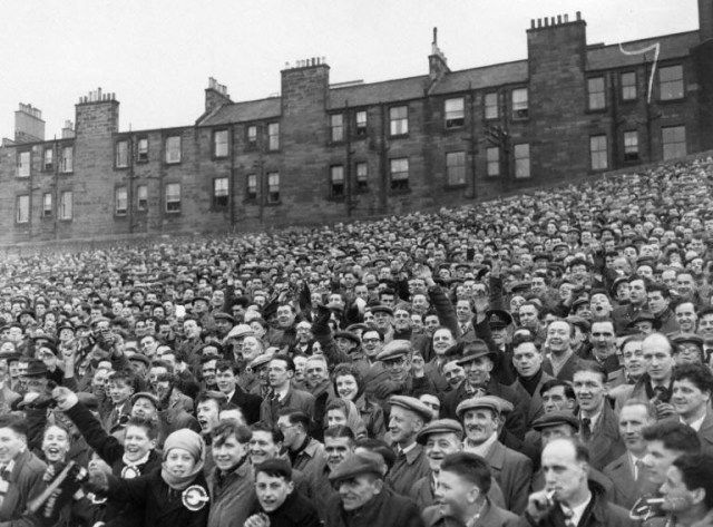 Supporters of Hearts in 1955. Tynecastle Stadium.
