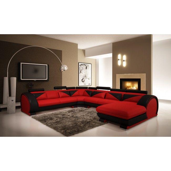 vig red u0026 black leather sectional sofa with headrests vgev73955