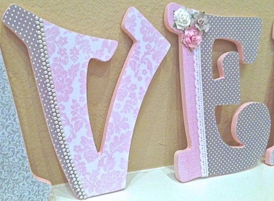 Custom nursery letters for girl pink and grey nursery for Baby room decoration letters