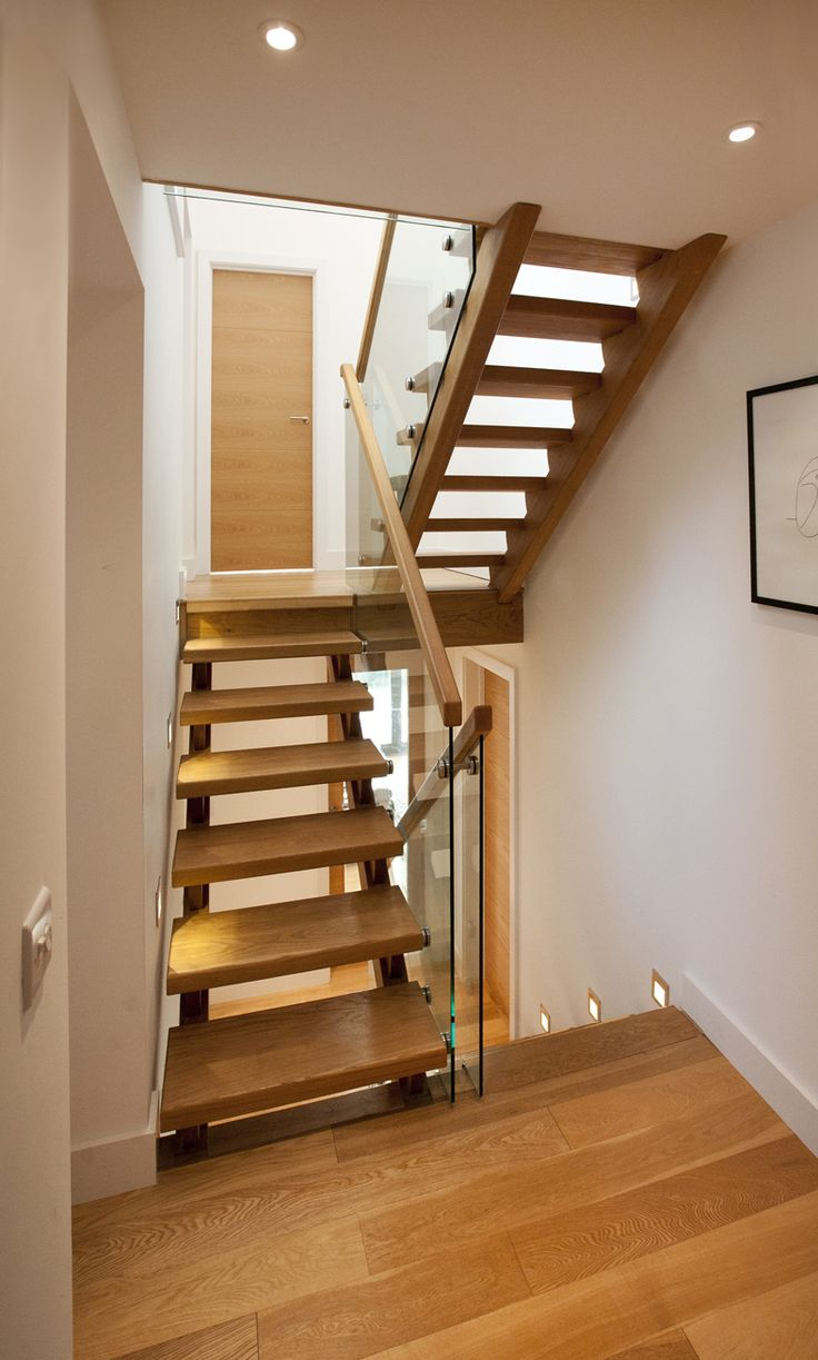Best Trevanion Cornwall Split Level Staircase Glazed Balustrade Glass And Wood Stairs 640 x 480