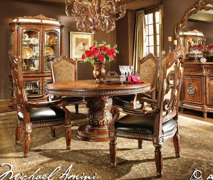 AICO Furniture   Villa Valencia Round Dining Room Set   AICO 72001 ROOM |