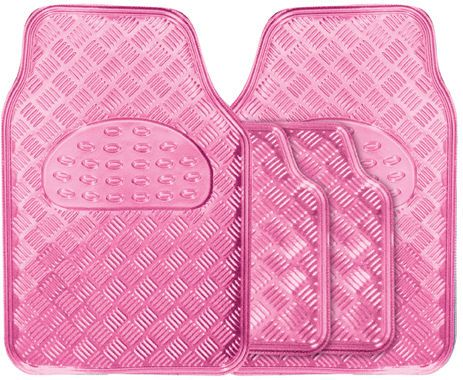 Metallic Girls Pink Heavy Duty Checker Plate Rubber Interior Car Floor Mats Set in Vehicle Parts & Accessories, Car Parts, Interior Parts & Furnishings   eBay