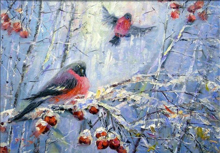 Я Царь зимы... Снегири.. Картины художника. Лоскутов Евгений Борисович. Художники. Картины, картинная галерея, продажа картин