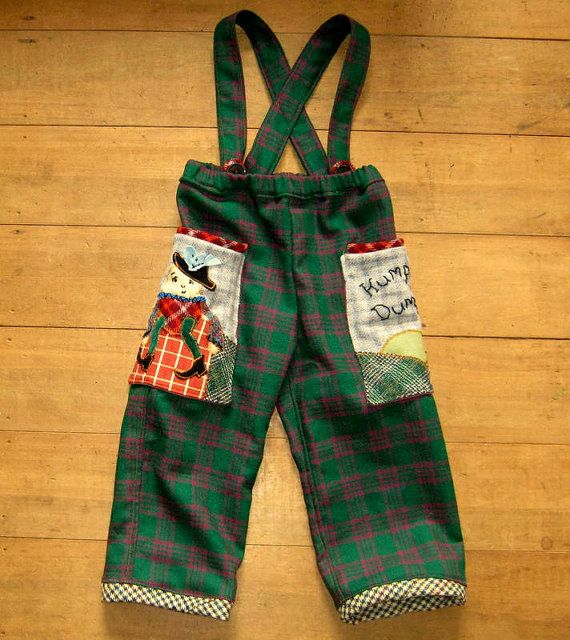 pull up pants with suspenders and nursery rhyme pockets by