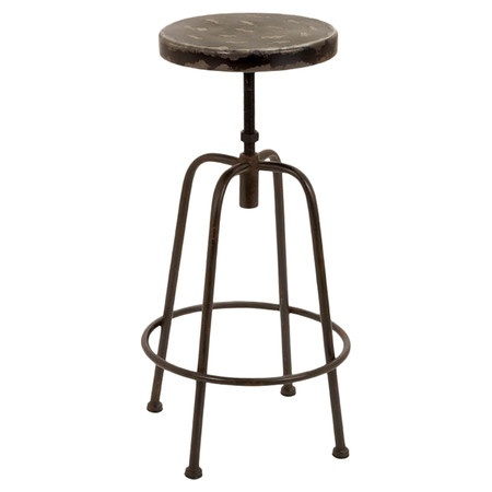 Industrial metal stool with a weathered seat. Suitable for outdoor use.   Product: BarstoolConstruction Material: Meta...