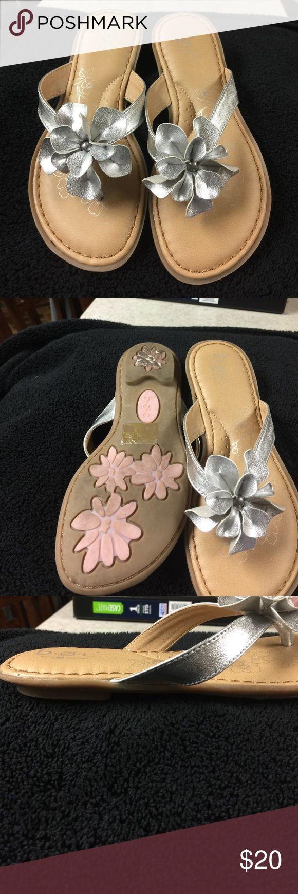 Girls BOC pewter sandals. Like new BOC pewter like new sandals for girls. Flower adorns top BOC Shoes Sandals & Flip Flops