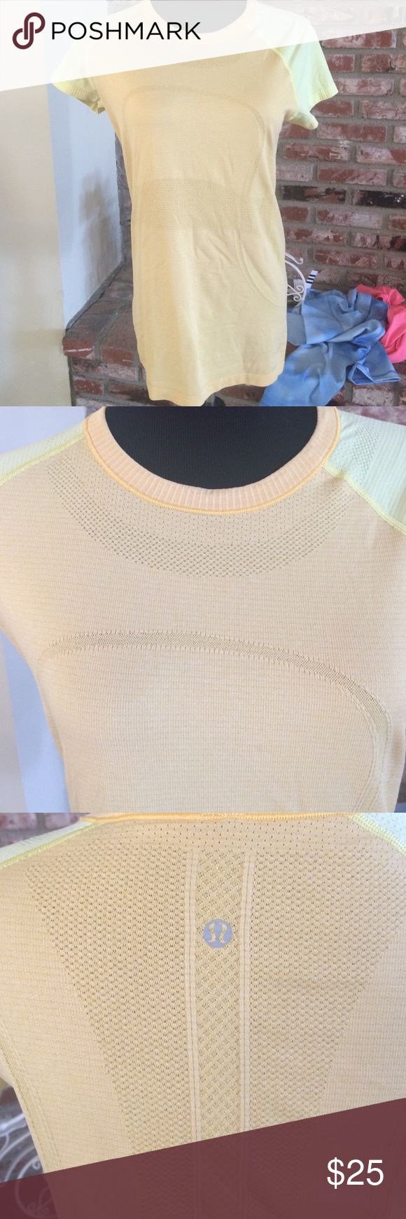 Lululemon run swiftly orange and yellow shirt 10 Very good used condition. Cute color combo lululemon athletica Tops Tees - Short Sleeve