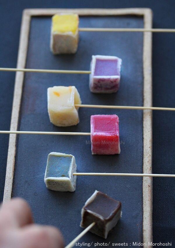 和菓子【カラフル&ベジフルきんつば〜Kintsuba】 Kintsuba(Japanese Agar sweets) flavored with pumpkin, beetroot, spinach, azuki bean, yuzu(Japanese citron). *styling / photo /  sweets : Midori Morohoshi(http://ameblo.jp/greenonthetable/imagelist.html)