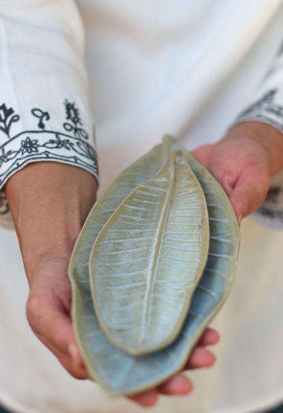 Keramik Blattschale Blatt geformte Schale handgemachte