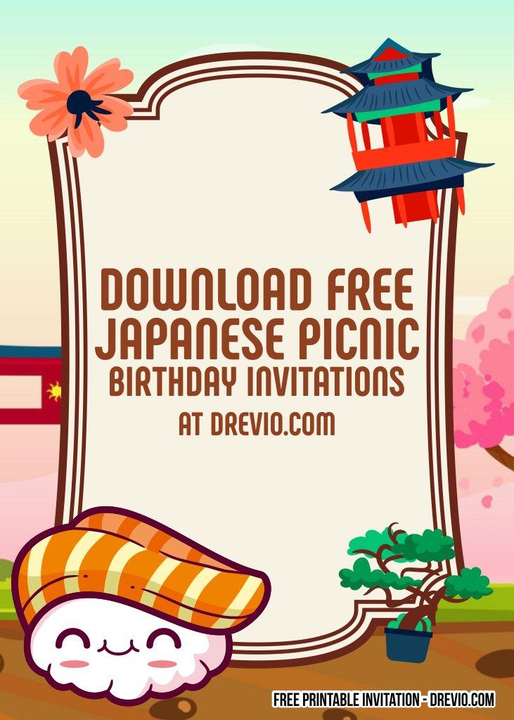 Free Japanese Picnic Themed Birthday Invitation Templates Birthday Invitation Templates Birthday Invitations Free Birthday Invitation Templates
