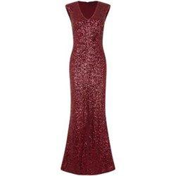 Dark Red Sequin V Neck Maxi Dress