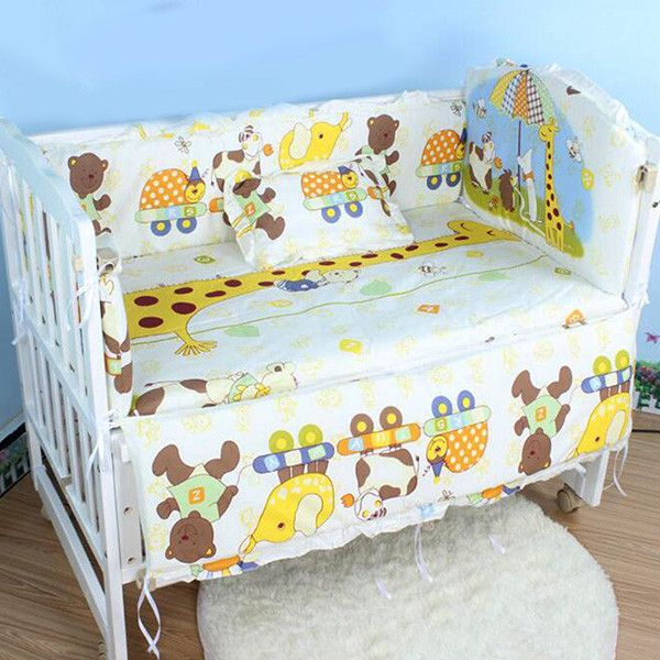 Hot Sale Baby Cot Bedding Set Newborn Toddler Crib Kids Bumper Sets Backrest+Mattress+Long Bumper+Short Bumper+Pillow