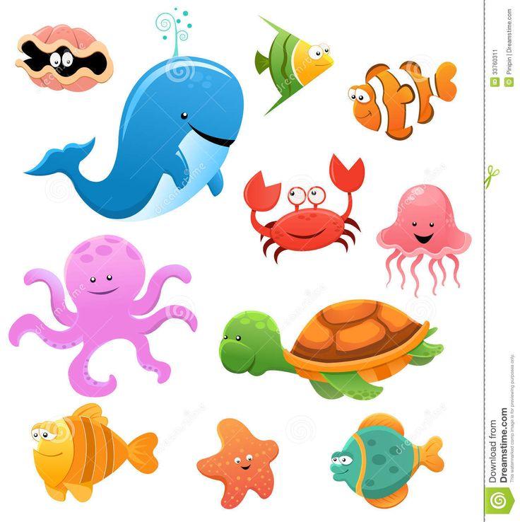 Cute Sea Creatures | Collection of cute little cartoon sea animals.