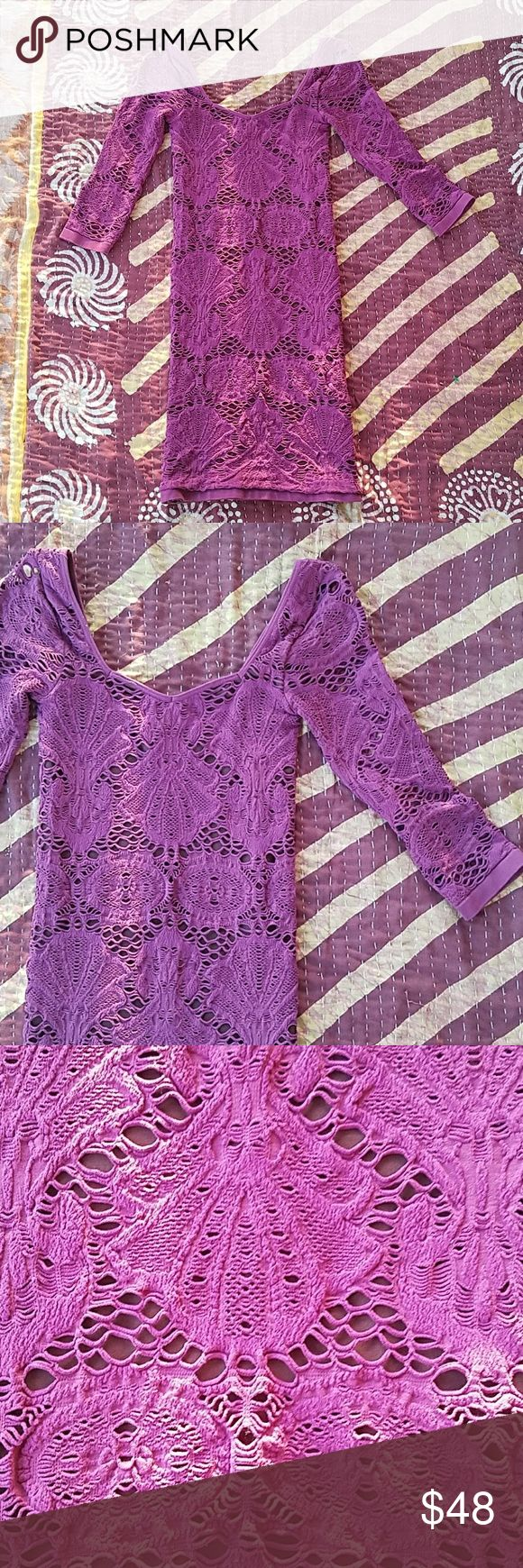Intimately Free People Mesh Bodycon Mini Dress XS Plum purple in an intricate design Stretch mesh fabric Scoop neckline 3-4 sleeves, mini length Fitted bodycon style  Made by Intimately Free People size XS  In good condition Free People Dresses Mini