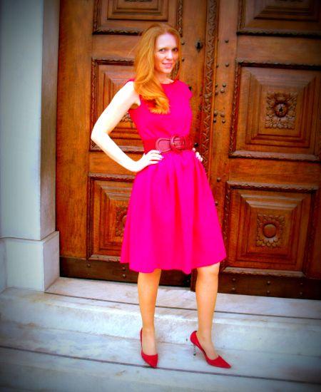 Bright dress in crepe