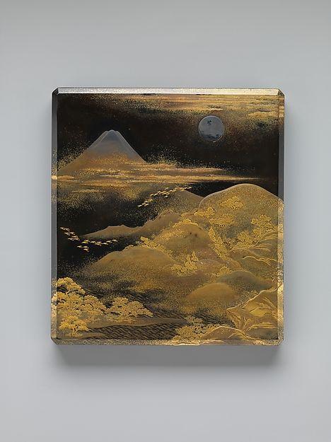 富士飛雁蒔絵硯箱<br/>Box for Inkstone and Writing Implements (Suzuri-bako) with Geese against Mount Fuji in Moonlight and (inner lid) with Plovers by the Seashore Period: Edo period (1615–1868) Date: early to mid-19th century Culture: Japan Medium: Black lacquer ground with gold and silver maki-e Dimensions: H. 9 9/16 in. (24.3 cm); W. 8 5/8 in. (21.9 cm); D. 1 13/16 in. (4.6 cm) Classification: Lacquer