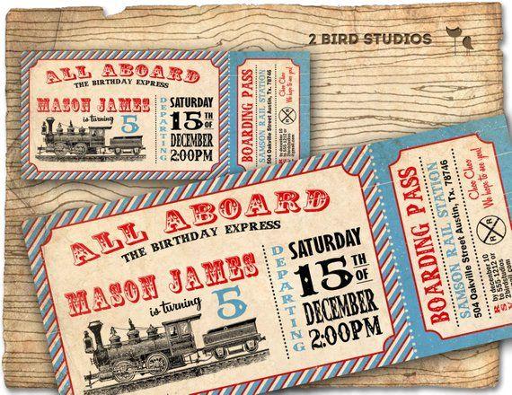 vintage train invitation train ticket
