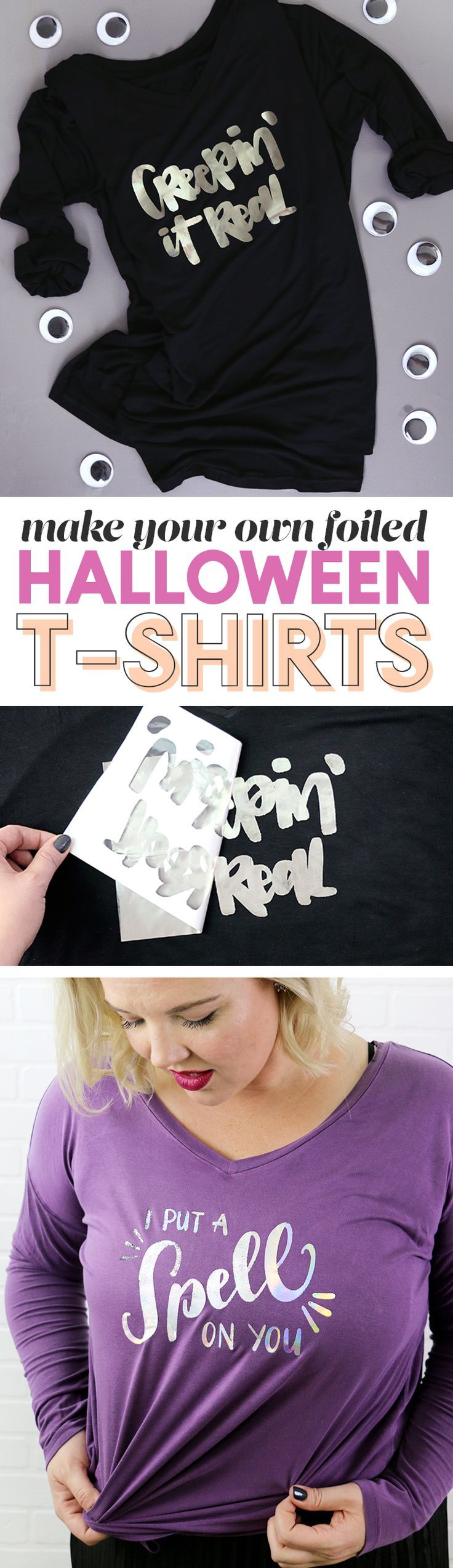 diy foil shirts for Halloween - make your own DIY shiny foil shirt for Halloween this year - free svg cut files