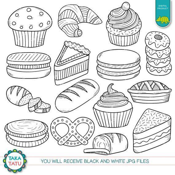 Pastry Doodles Digital Stamp Pastry Doodles Clipart Pastry Etsy In 2021 Digital Stamps Doodles Clip Art