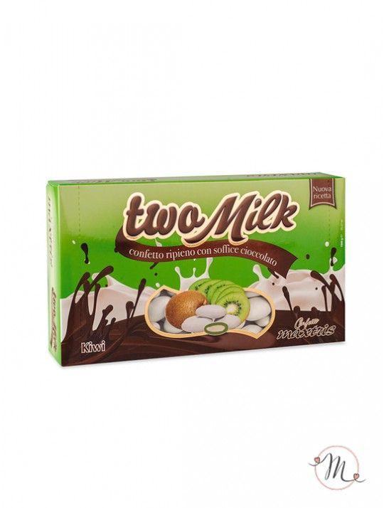 Confetti Maxtris Twomilk kiwi.  Anima di cioccolato bianco al gusto di kiwi, ricoperta da un sottilissimo strato di zucchero.  Confezione da 1 kg. Noi di Martha's Cottage siamo rivenditori autorizzati Maxtris. #confettata #confetti #matrimonio #weddingday #ricevimento #maxtris #wedding #sconti