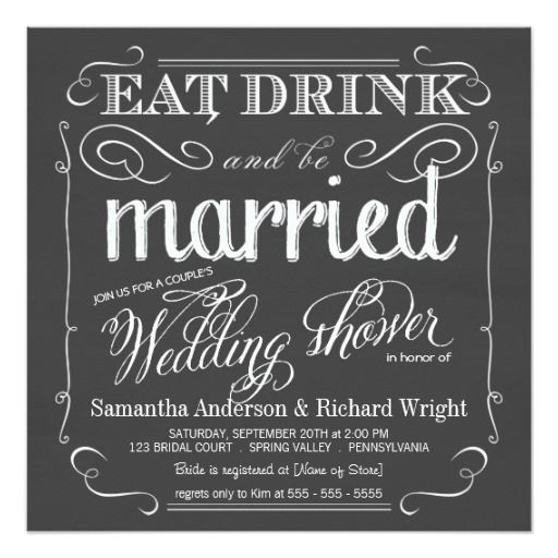 299 best eat drink and be married wedding invitations images on chalkboard couples wedding shower invitations filmwisefo Choice Image