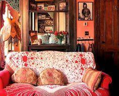 Lorraine Kirke's sitting room.... love the piano shawl