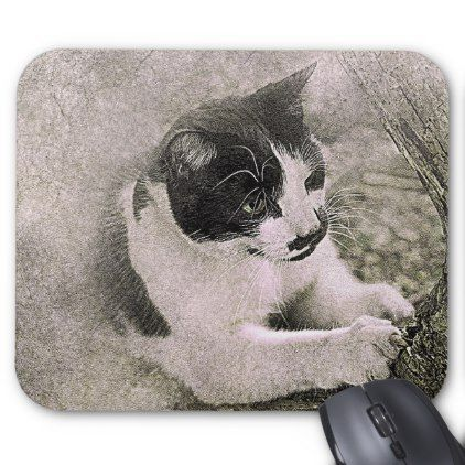 Tree Climbing Cat | Abstract | Watercolor Mouse Pad - cat cats kitten kitty pet love pussy