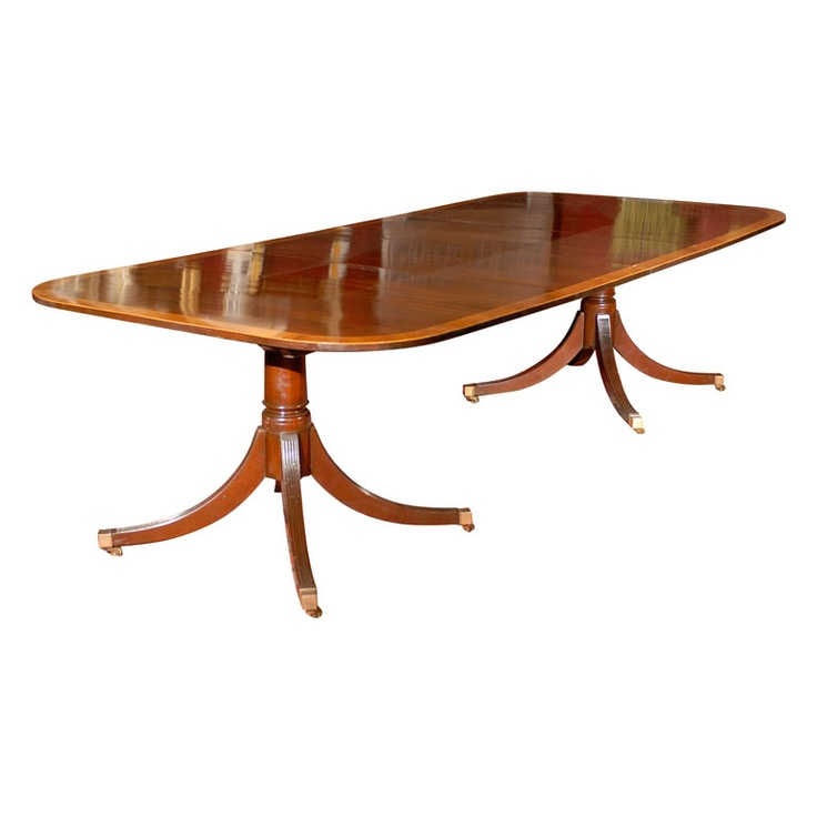 double pedestal mahogany dining table w rosewood banding pedestal