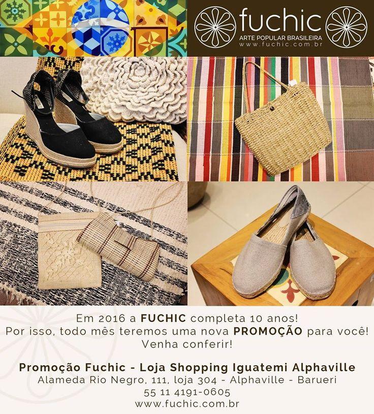 Aproveite o nosso desconto do mês: 30% de desconto em sapatos e bolsas. Esses são os da loja do Shopping Iguatemi Alphaville, venha nos visitar e comemorar os 10 anos da Fuchic. O desconto é válido para todas as lojas, confira os endereços no site www.fuchic.com.br.
