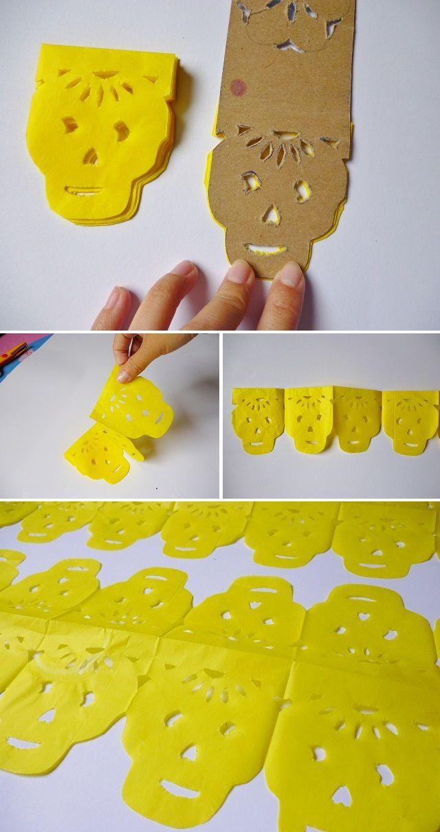 Manitas de gato: Día de Muertos. Como hacer papel picado y cadenas de papel de calaveritas