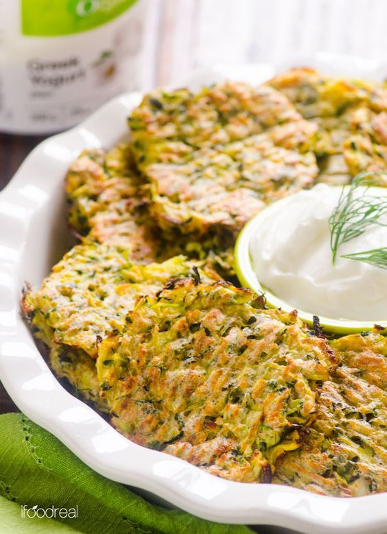 Baked Zucchini Fritters Recipe -- Made healthier with whole wheat flour and baked instead of fried. Same crispy. | ifoodreal.com