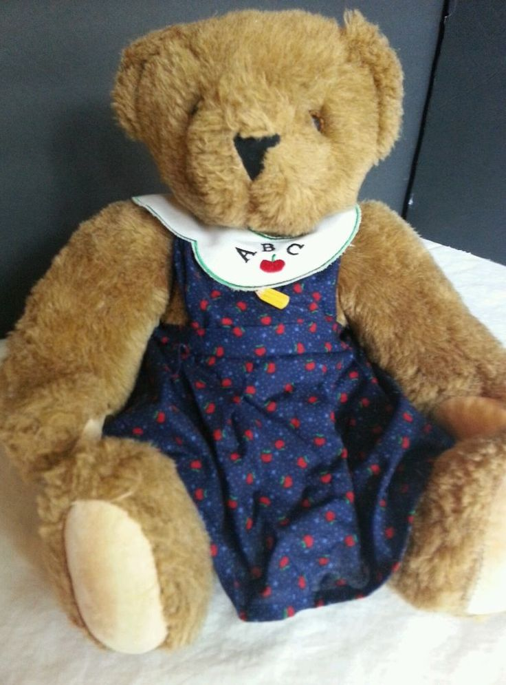 """Vermont Brown Teddy Bear 15"""" Fully Jointed Teacher Dress ABC LIFETIME WARRANTY #AllOccasion"""