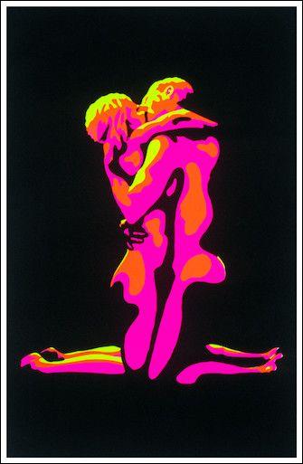 Flaming Love Black Light Poster, 24 in. x 36 in., SKU: 000538