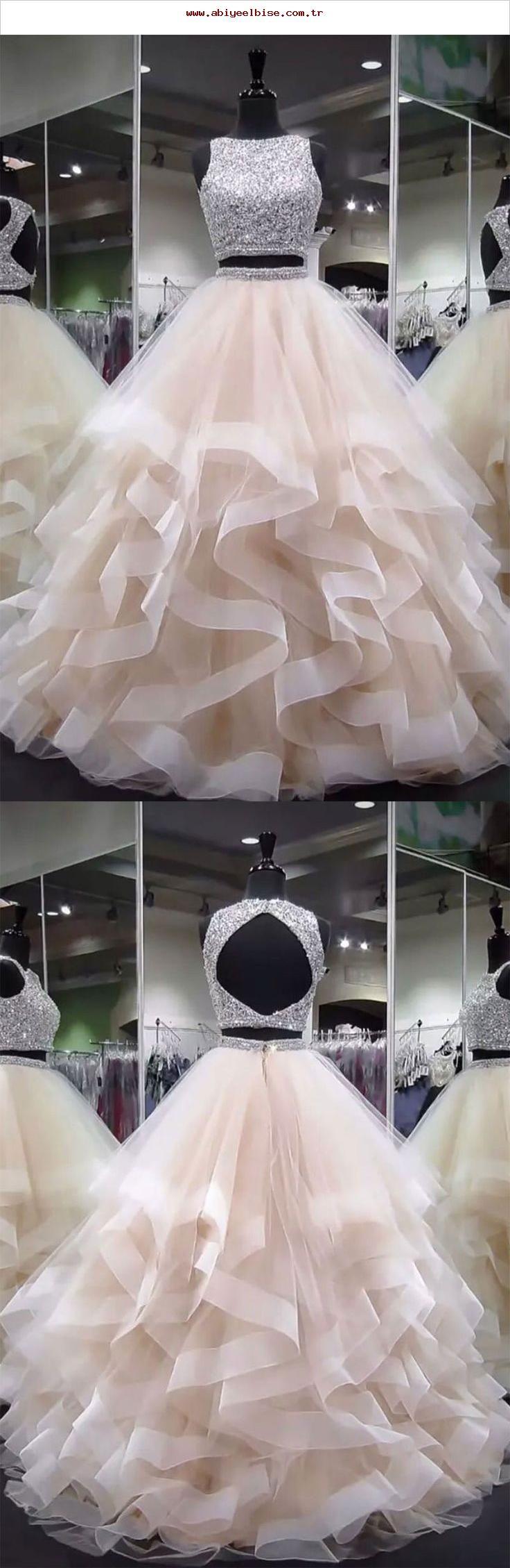 Licht Champagner Tüll Perlen Pailletten langes Abendkleid, Champagner Abendkleid,  #abendkleid #champagner #langes #licht #pailletten #perlen