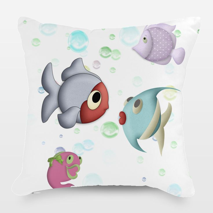 Shop for unique nursery art like the fish kiss Throw Pillow by haroulita on BoomBoomPrints today!  Customize colors, style and design to make the artwork in your baby's room their own!