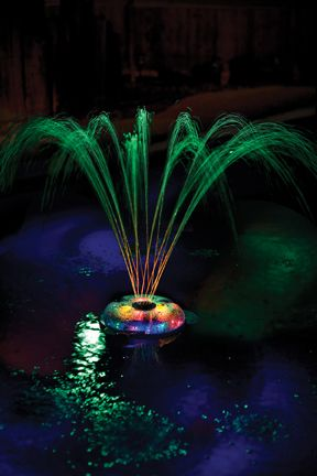 This amazing water feature does it all!  It floats, spins and sprays colors both above and below the water.  Watch in delight as an array of vivid color patterns project onto the bottom of your pool while the twirling fountain changes colors above the water.  It is the perfect party pool accessory!  Twirling, color changing fountain & underwater lights  No installation or hoses required  One hour auto shut-off