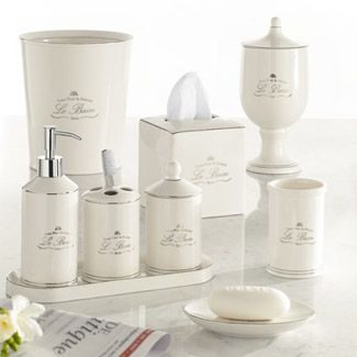Le Bain Accessories by Kassatex, Cotton Jar - Top Grade Porcelain