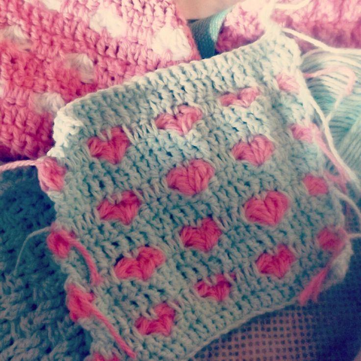 Punto corazón. Crochet