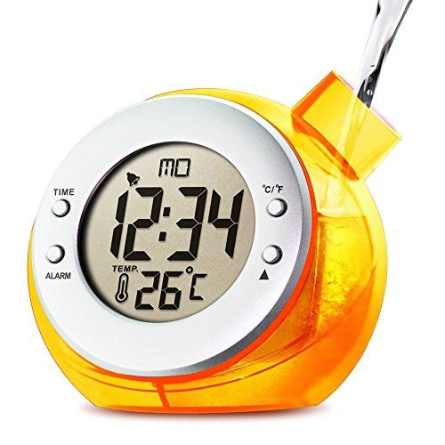 Mstar Water Powered Digital Clock with Temperature,orange