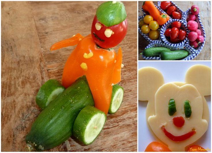 Hoe maak je gezonde voeding leuk voor kinderen? Met mini paprika's, snoeptomaatjes of mini komkommers knutsel je leuke figuurtjes. Gebruik tandenstokers om het vast te zetten aan elkaar. Kinderen kunnen ook hun eigen bruine boterham versieren met feestelijk broodbeleg. Laat ze dan kiezen uit leuke koekuitstekers (zoals deze Mickey Mouse) om zo een figuurtje uit een plakje kaas te drukken. #gezond #traktatie